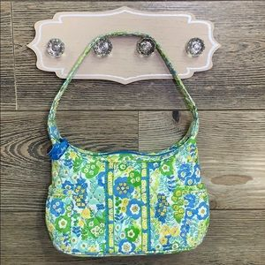 VERA BRADLEY QUILTED FLORAL MINI BAG BLUE GREEN
